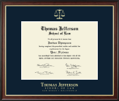 Thomas Jefferson School of Law Diploma Frame - Gold Embossed Diploma Frame in Studio Gold