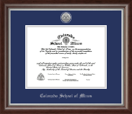 Colorado School of Mines Diploma Frame - Silver Engraved Medallion Diploma Frame in Devonshire