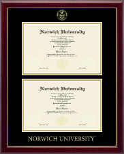 Norwich University Diploma Frame - Double Diploma Frame in Gallery
