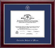 Colorado School of Mines Diploma Frame - Silver Embossed Diploma Frame in Gallery Silver