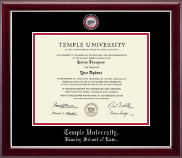 Temple University Law School Diploma Frame - Masterpiece Law Medallion Diploma Frame in Gallery Silver