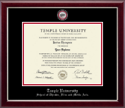 Temple University Diploma Frame - Masterpiece Medallion Diploma Frame in Gallery Silver