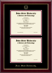 Iowa State University Diploma Frame - Double Diploma Frame in Gallery