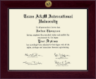 Texas A&M International University in Laredo Diploma Frame - Century Gold Engraved Diploma Frame in Cordova
