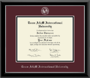 Texas A&M International University in Laredo Diploma Frame - Silver Embossed Diploma Frame in Onyx Silver