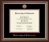 University of Cincinnati Diploma Frame - Gold Engraved Medallion Diploma Frame in Hampshire