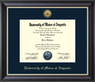 University of Maine at Augusta Diploma Frame - Gold Engraved Medallion Diploma Frame in Noir