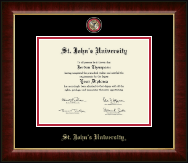St. John's University, New York Diploma Frame - Masterpiece Medallion Diploma Frame in Murano