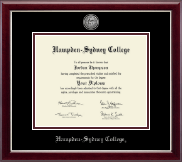 Hampden-Sydney College Diploma Frame - Silver Engraved Medallion Diploma Frame in Gallery Silver