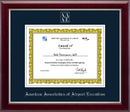American Association of Airport Executives Certificate Frame - Silver Embossed Certificate Frame in Gallery Silver