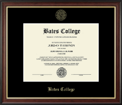 Bates College Diploma Frame - Gold Embossed Diploma Frame in Studio Gold