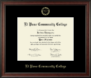 El Paso Community College Diploma Frame - Gold Embossed Diploma Frame in Studio