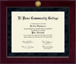 El Paso Community College Diploma Frame - Millennium Gold Engraved Diploma Frame in Cordova