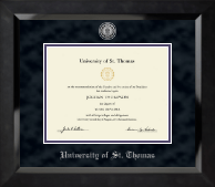 University of St. Thomas Diploma Frame - Silver Engraved Medallion Diploma Frame in Eclipse
