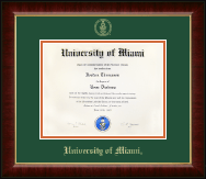 University of Miami Diploma Frame - Gold Embossed Diploma Frame in Murano