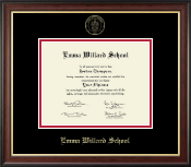 Emma Willard School Diploma Frame - Gold Embossed Diploma Frame in Studio Gold