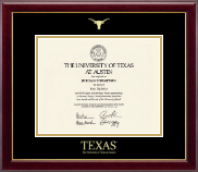 The University of Texas Austin Diploma Frame - Gold Embossed Diploma Frame in Gallery