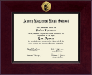 Amity Regional High School Diploma Frame - Century Gold Engraved Diploma Frame in Cordova