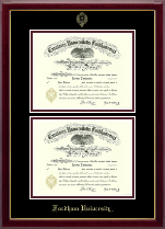 Fordham University Diploma Frame - Double Diploma Frame in Gallery