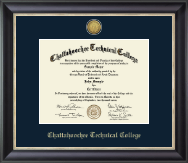 Chattahoochee Technical College Diploma Frame - Gold Engraved Medallion Diploma Frame in Noir