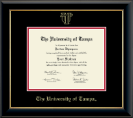 University of Tampa Diploma Frame - Gold Embossed Diploma Frame in Onyx Gold
