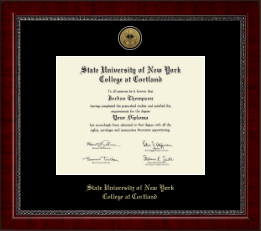 State University of New York Cortland Diploma Frame - Gold Engraved Medallion Diploma Frame in Sutton