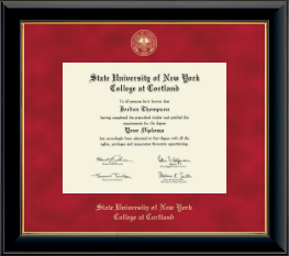 State University of New York Cortland Diploma Frame - Gold Embossed Diploma Frame in Onyx Gold