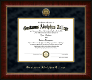 Gustavus Adolphus College Diploma Frame - Gold Engraved Medallion Diploma Frame in Murano