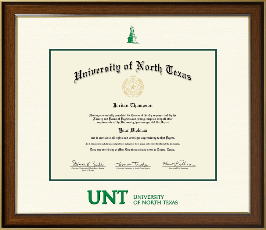 University Of North Texas Dimensions Diploma Frame In