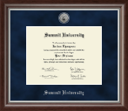Summit University Diploma Frame - Silver Engraved Medallion Diploma Frame in Devonshire