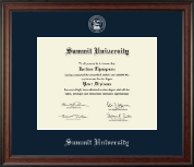 Summit University Diploma Frame - Silver Embossed Diploma Frame in Studio