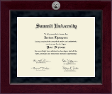 Summit University Diploma Frame - Millennium Silver Engraved Diploma Frame in Cordova