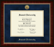 Summit University Diploma Frame - Gold Engraved Medallion Diploma Frame in Murano