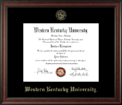 Western Kentucky University Diploma Frame - Gold Embossed Diploma Frame in Studio