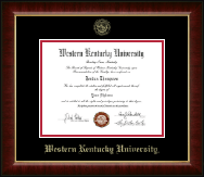 Western Kentucky University Diploma Frame - Gold Embossed Diploma Frame in Murano