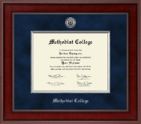 Methodist College Diploma Frame - Presidential Silver Engraved Diploma Frame in Jefferson