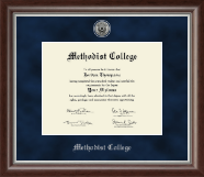 Methodist College Diploma Frame - Silver Engraved Medallion Diploma Frame in Devonshire