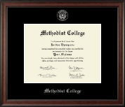 Methodist College Diploma Frame - Silver Embossed Diploma Frame in Studio