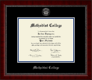Methodist College Diploma Frame - Silver Embossed Diploma Frame in Sutton