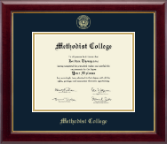 Methodist College Diploma Frame - Gold Embossed Diploma Frame in Gallery