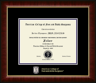 American College of Foot and Ankle Surgeons Certificate Frame - Masterpiece Medallion Certificate Frame in Murano