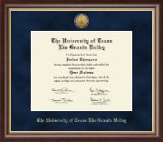 The University of Texas Rio Grande Valley Diploma Frame - Gold Engraved Medallion Diploma Frame in Hampshire