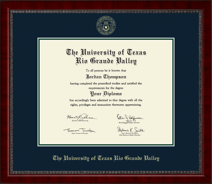 the university of texas rio grande valley gold embossed diploma frame in sutton item 277050