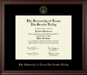 The University of Texas Rio Grande Valley Diploma Frame - Gold Embossed Diploma Frame in Studio