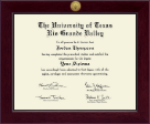 The University of Texas Rio Grande Valley Diploma Frame - Century Gold Engraved Diploma Frame in Cordova