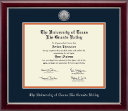 The University of Texas Rio Grande Valley Diploma Frame - Silver Engraved Medallion Diploma Frame in Gallery Silver
