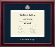 Carleton College Diploma Frame - Masterpiece Medallion Diploma Frame in Gallery