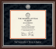 The University of Texas Austin Diploma Frame - Silver Engraved Medallion Diploma Frame in Devonshire