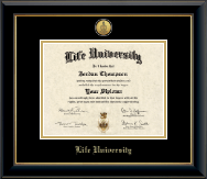 Life University Diploma Frame - Gold Engraved Medallion Diploma Frame in Onyx Gold
