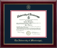 The University of Mississippi Diploma Frame - Gold Embossed Diploma Frame in Gallery